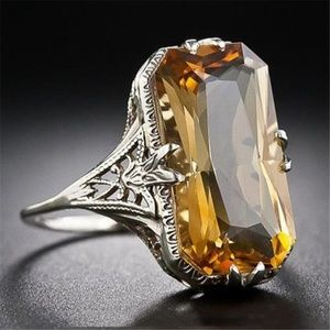 Faux Citrine Engraved Antique Style Cocktail Ring
